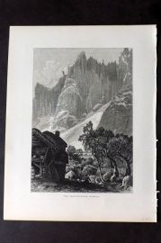 Picturesque Europe 1870s Antique Print. Trolltinderne, Romsdal, Norway